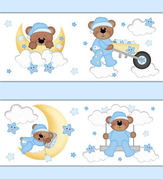 teddy bear nursery wallpaper border decal boy woodland animal