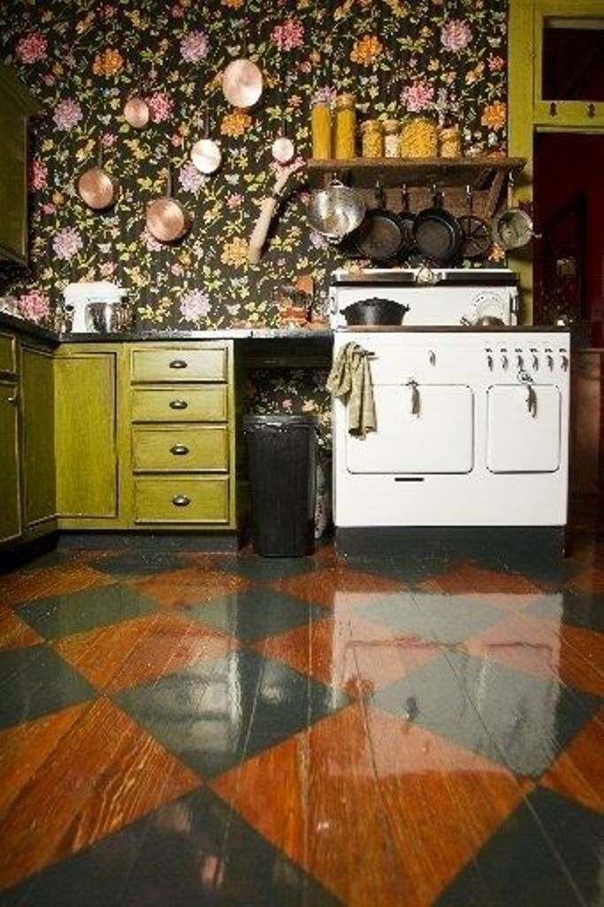 Boho Kitchen With Dark Floral Wallpaper Eclectic Kitchen Home