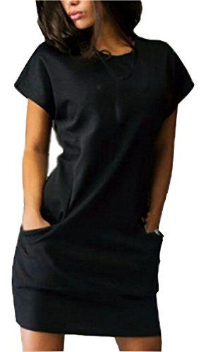 d439a58307 UGET Womens Summer Dresses Short Sleeve Casual Shirt Mini Dress with  Pockets Asia XL Black >>> Check out this great product.Note:It is affiliate  link to ...
