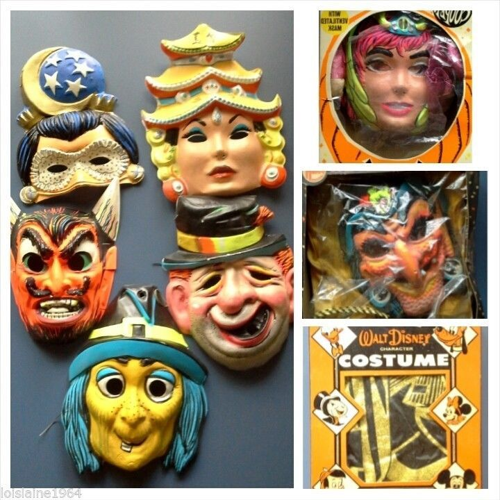 Vintage Halloween Masks Costumes Lot 1950 S 60 S Great Lot