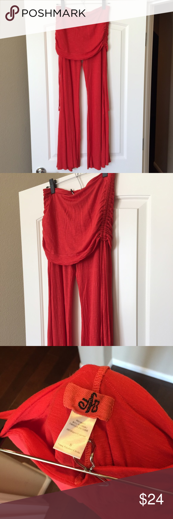 ✨Young Fabulous & Broke Sierra Pant✨ Young Fabulous & Broke Sierra Pant in red. Only worn a few times, good condition. Ruched sides with drawstrings. Raw hem on the bottom. No trades. Young Fabulous & Broke Pants