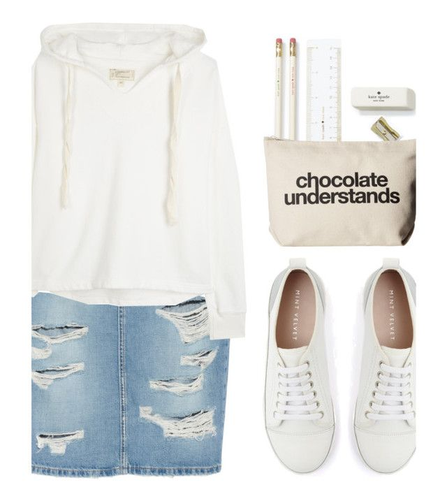 """""""// """"My red heart turns white as snow""""... //"""" by shalom11 ❤ liked on Polyvore featuring Current/Elliott, Kate Spade, Dogeared, Mint Velvet, white, Modest, Modesty, Hoodies and denimskirt"""