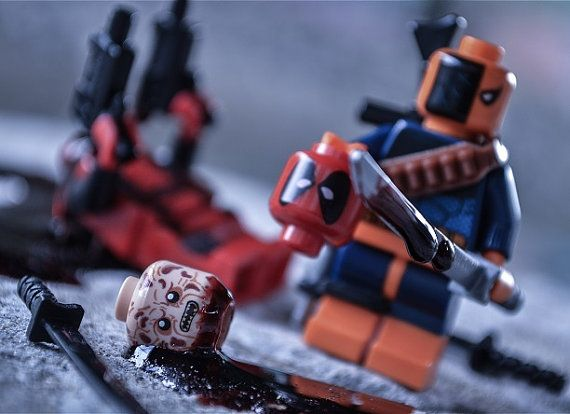 Deathstroke Vs Deadpool LEGO Themed Digital Photograph By Qunotoys