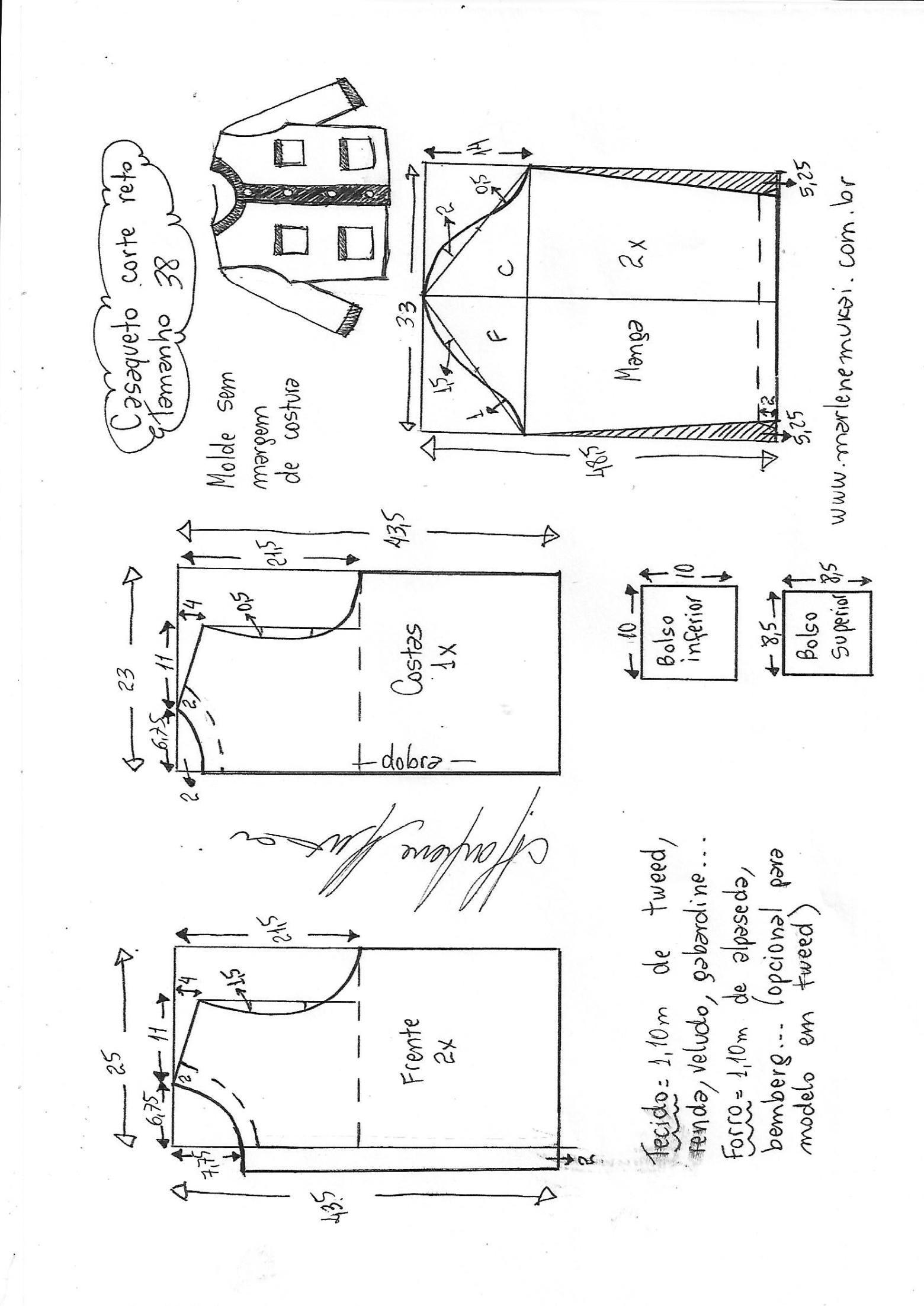 Casaqueto de corte reto - Bricolaje - molde, corte y costura ...