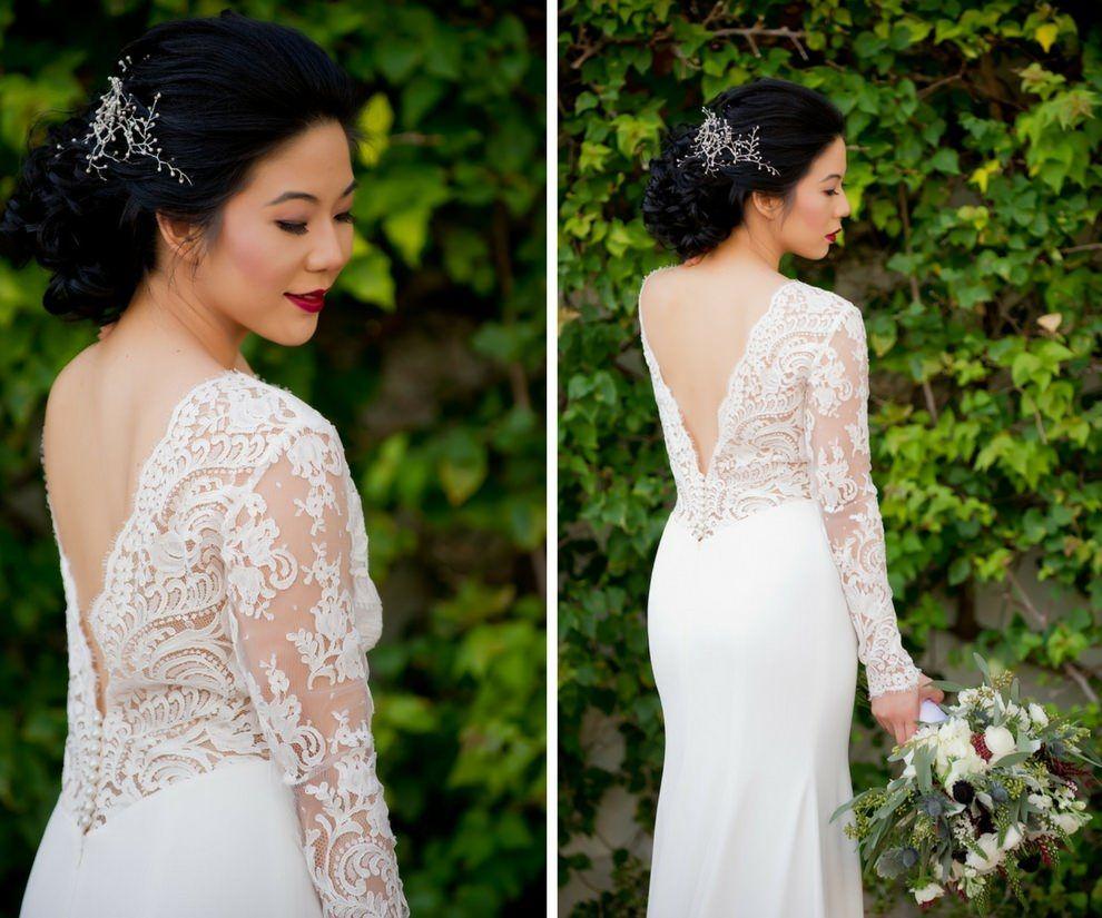 Long sleeve portrait back wedding dress