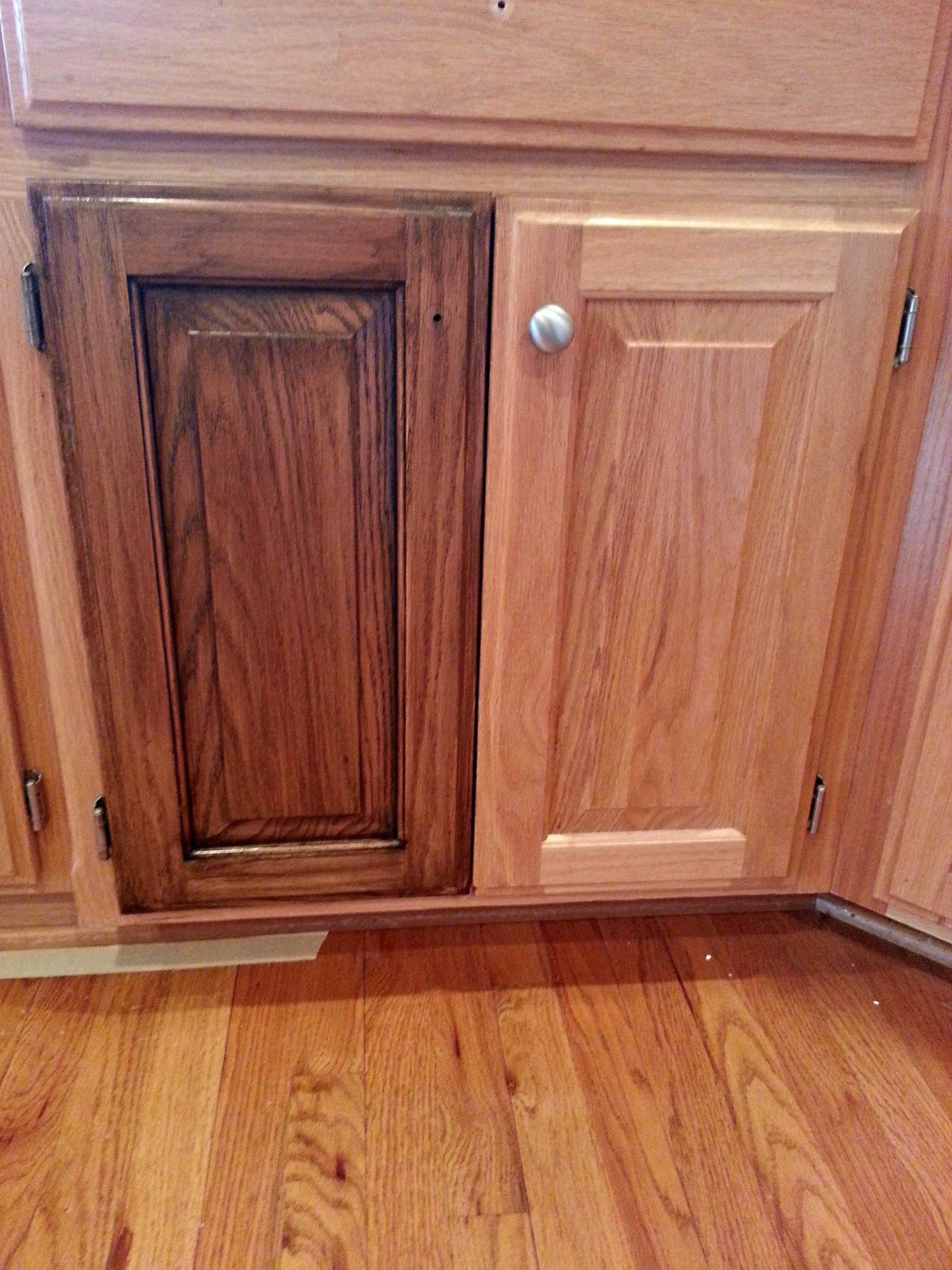 Change Your Tired Oak Kitchen Cabinets To A Dark Walnut Stain Cheap Kitchen Cabinets Staining Cabinets Restaining Kitchen Cabinets