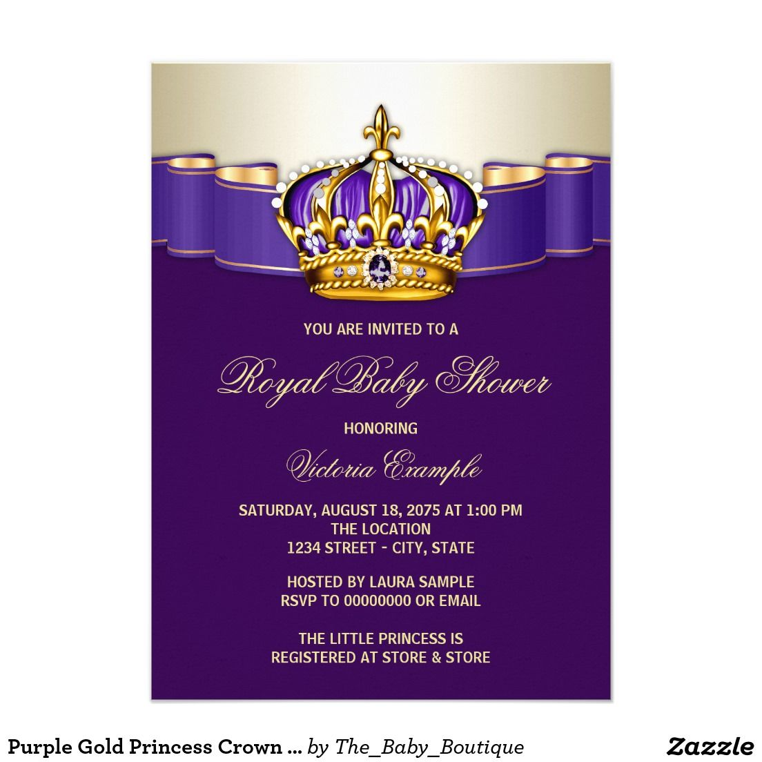 Purple Gold Princess Crown Baby Shower Card