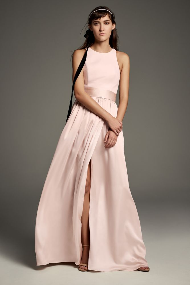 8b1d26014392 High-Neck Crepe Halter Bridesmaid Gown with Sash Style VW360463, Blush, 20