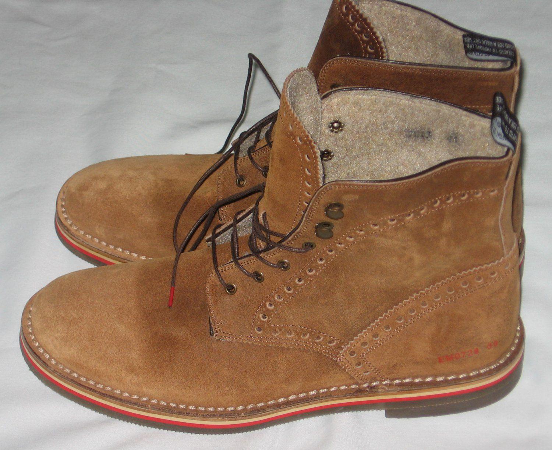 4fc02459976 Elia Maurizi St. Moritz Vera Gomma Tan Suede Lace Up Boots Mens Size ...
