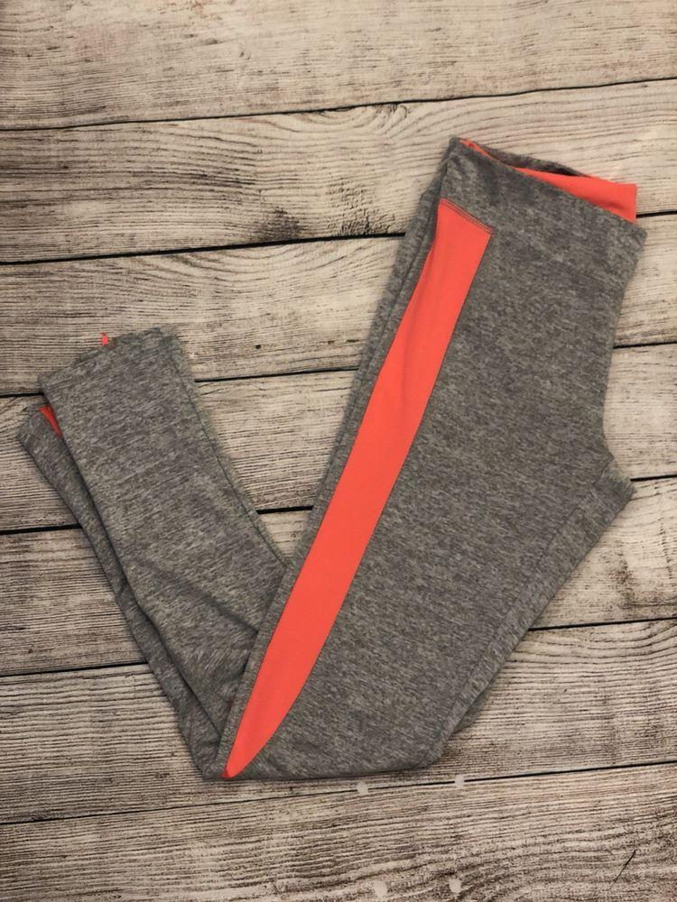 Aviva Sports Medium Fitness Capris Leggings Gray Orange