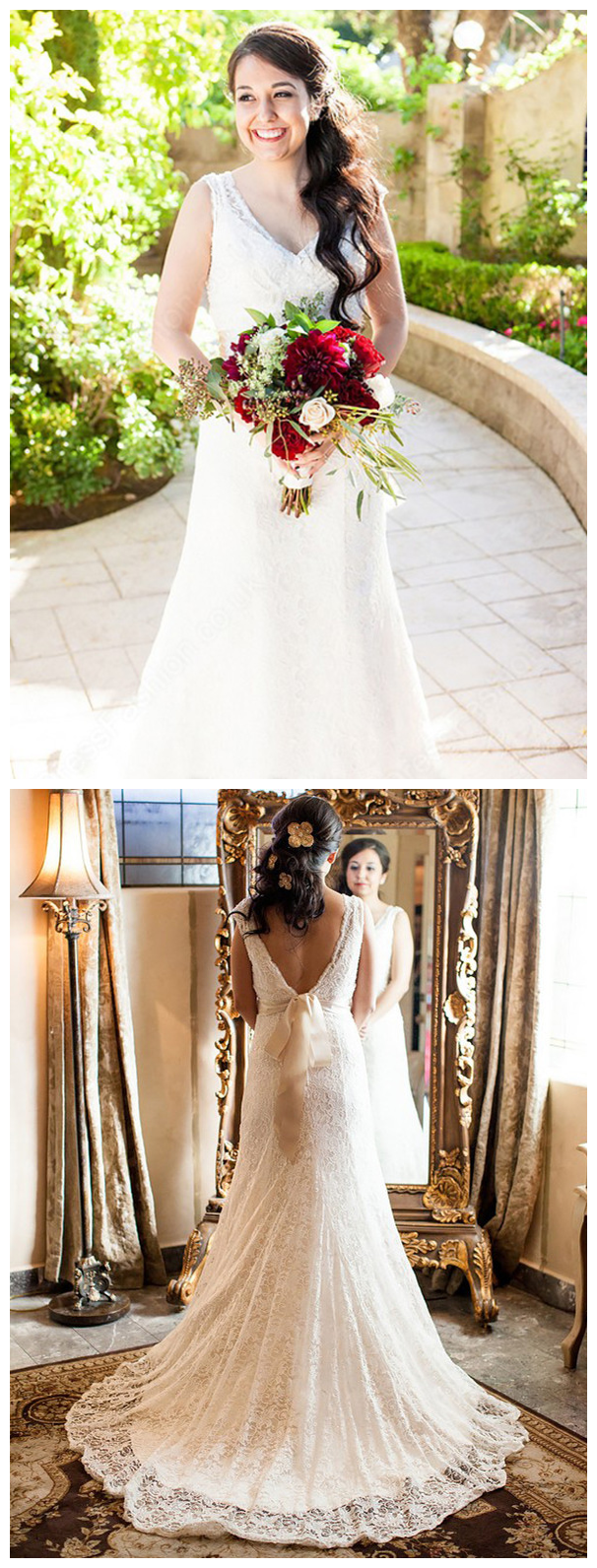 Modern lace vneck neckline chapel train sheath wedding dresses with