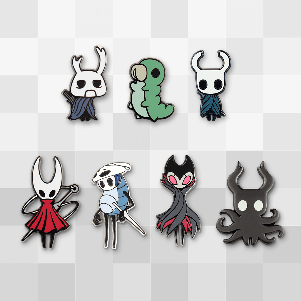 Get Seven Of Our Official Hollow Knight Enamel Pins And Save 16 Each Pin Is Also Available Separately Wanderer Hornet Grub Quirr Knight Hollow Hollow Night