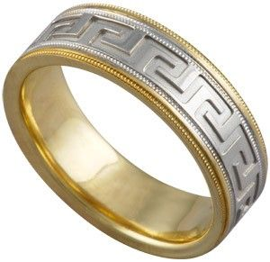 Greek Key Wedding Band Ring In 14K Two Tone Gold High Quality Roman Design