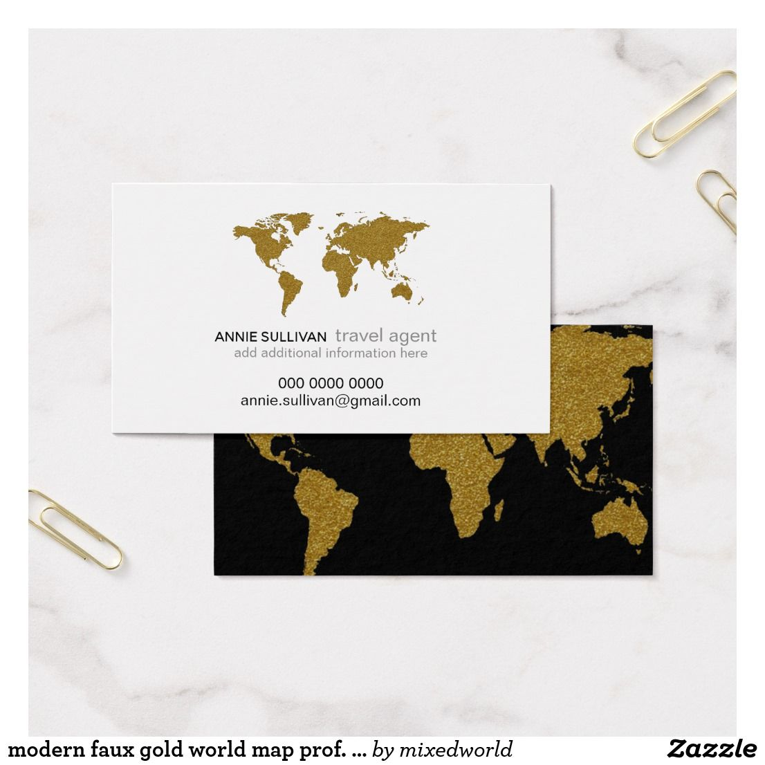 modern faux gold world map prof. travel agent business card ...