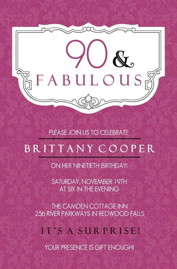 90th birthday invitations samples invitations in 2018 pinterest