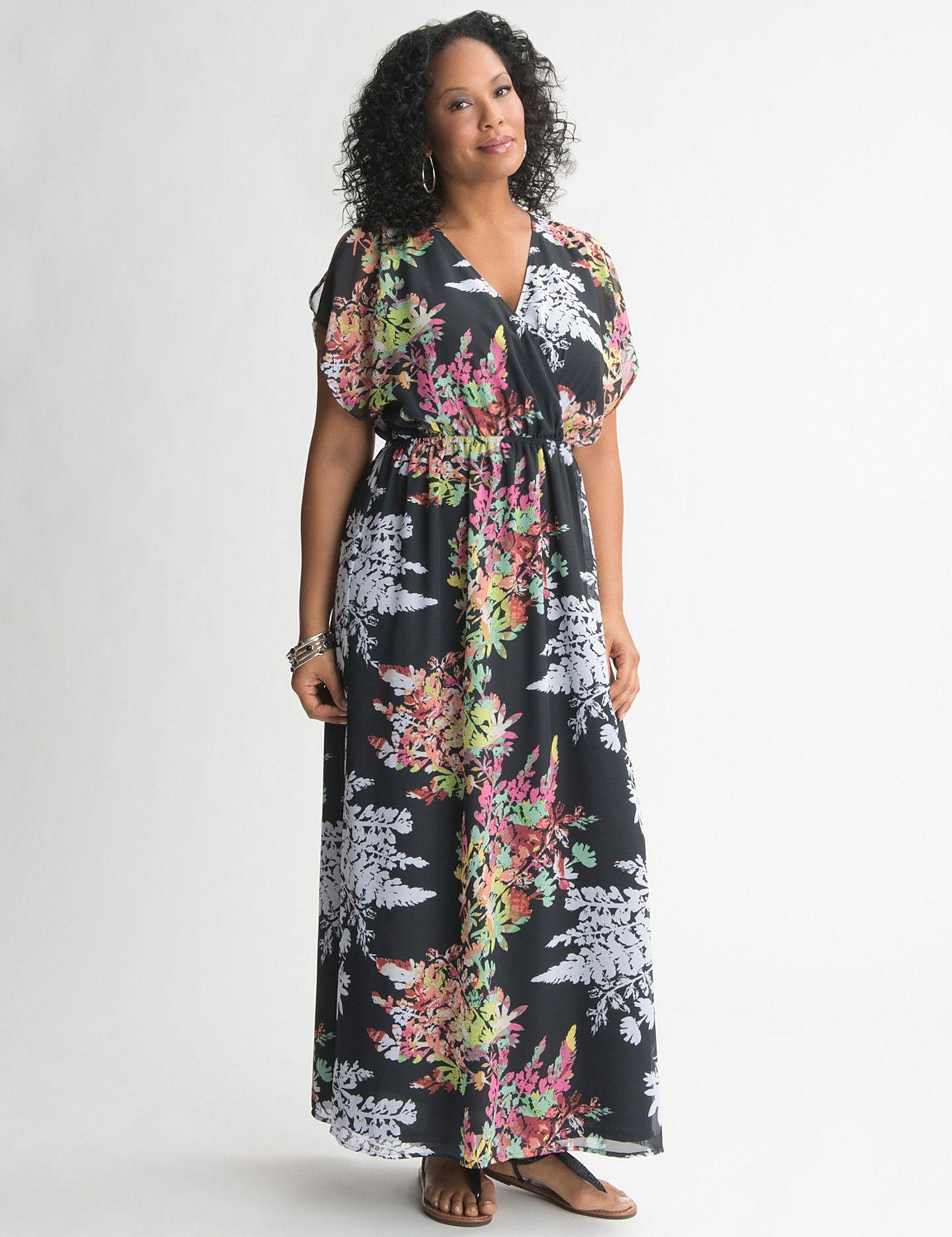 Lane Bryant Floral Chiffon Maxi Dress