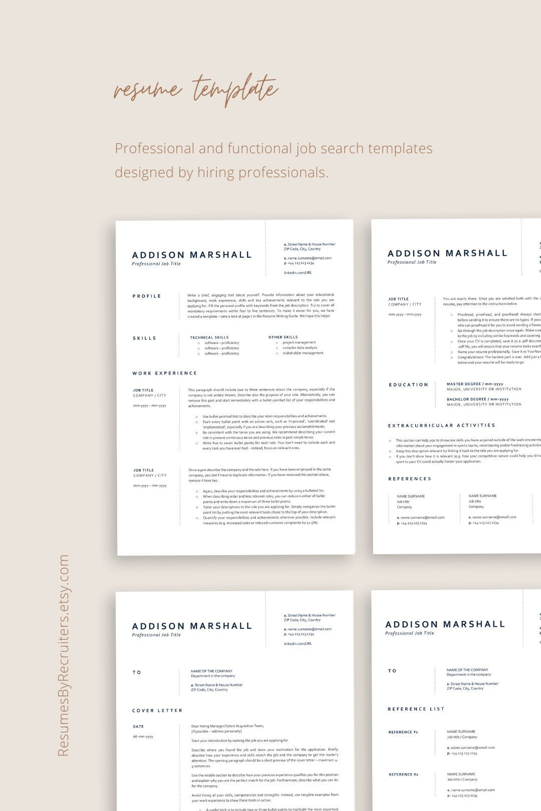 Minimalist Cv Resume Template Instant Download One Page And Etsy Resume Template Medical Resume Template Resume Template Professional