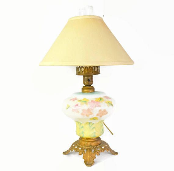 Milk glass lamp vintage table lamp brass lamp pastel glass