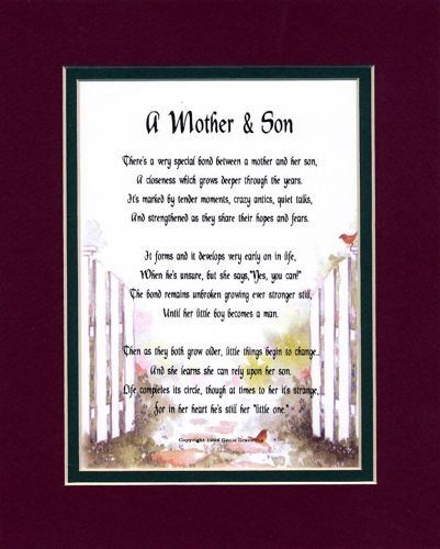 A Mother & Son Touching 8x10 Poem, Double-matted In