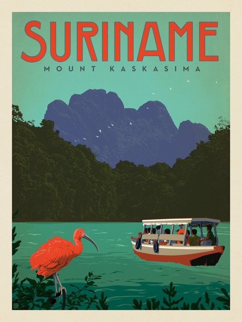 Anderson Design Group World Travel Suriname Mount Kaskasima Travel Posters Vintage Travel Posters South America Travel