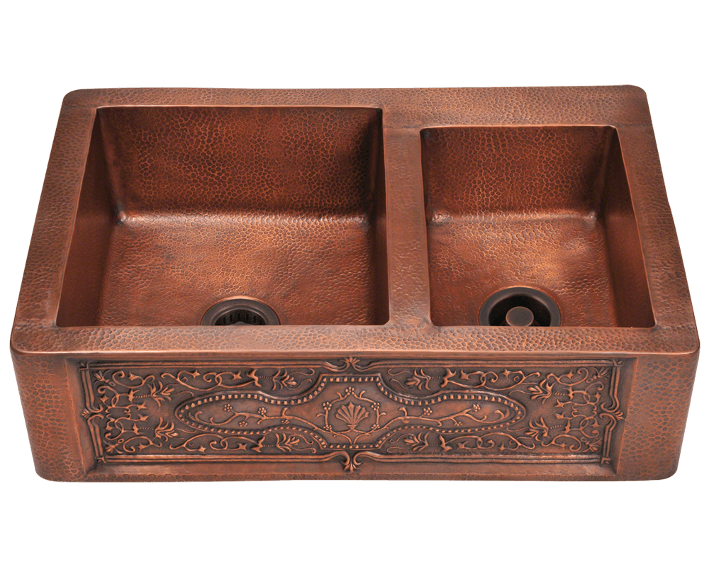 Polaris 33 Offset Double Bowl Copper Apron Sink P119 Showroom Sinks Copper Apron Sink Copper Farmhouse Sinks Double Bowl Kitchen Sink