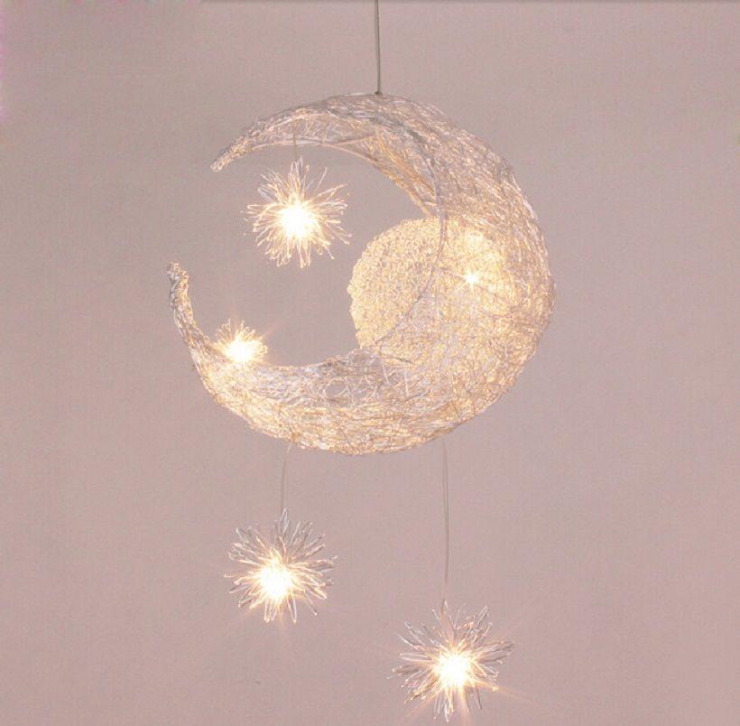 Moderne personnalisé lune étoiles lustre enfants chambre lustres suspendus maison de lampe de plafond décoratif d