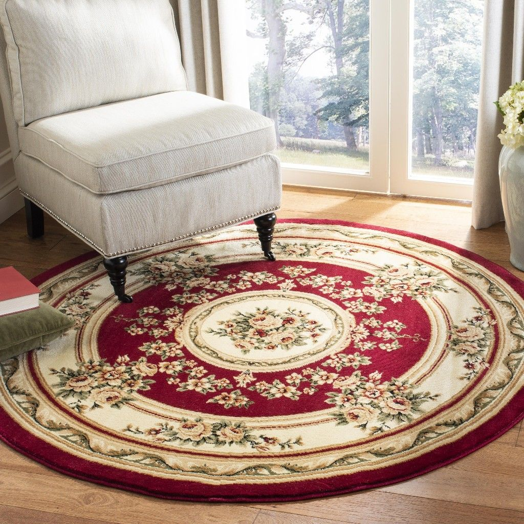 Lyndhurst Collection 5 3 X 5 3 Round Rug In Red And Ivory