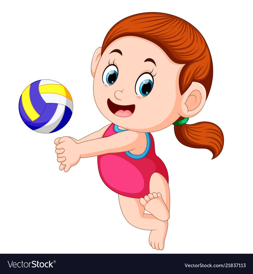 Girl Plays The Volley Ball Vector Image On Vectorstock Girls Play Volleyball Vector