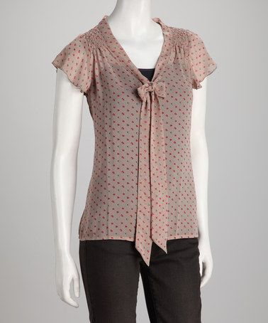 Take a look at this Mauve Floral Tie-Neck Angel Sleeve Top by Sylvie & Mado on #zulily today!