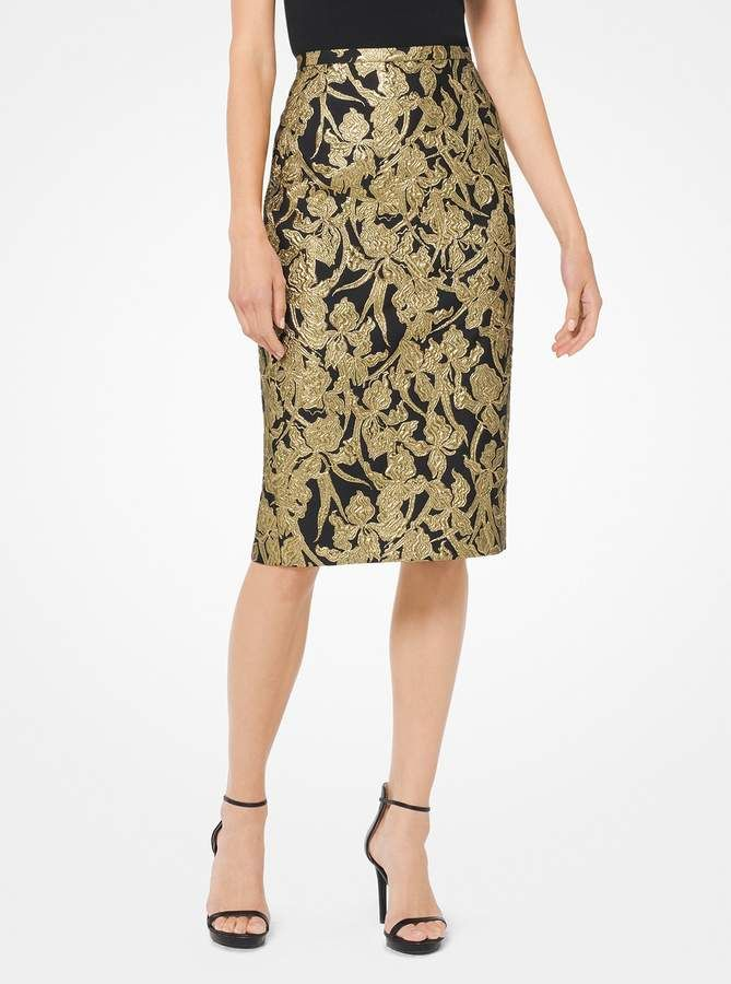 5fc9f9d6bc1c Michael Kors Floral Brocade Pencil Skirt | Products in 2019 | Skirts ...