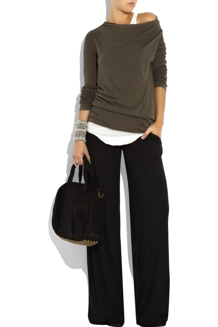 """This outfit is perfect for a TRIANGLE or PEAR shape, with fuller hips and bottom. The attention drawn up to the shoulder is great, combined with the  wide leg pants to balance out her shape. The layered tops are correctly positioned, hitting below her """"widest"""" point. Comfortable and chic!"""