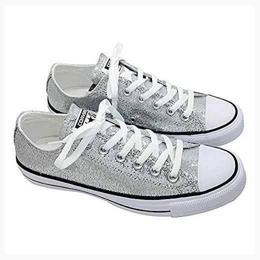 7bda51b2b202 CONVERSE Chuck Taylor All-Star Women s Ox Lo Top Sneakers Silver Glitter  135851C (8
