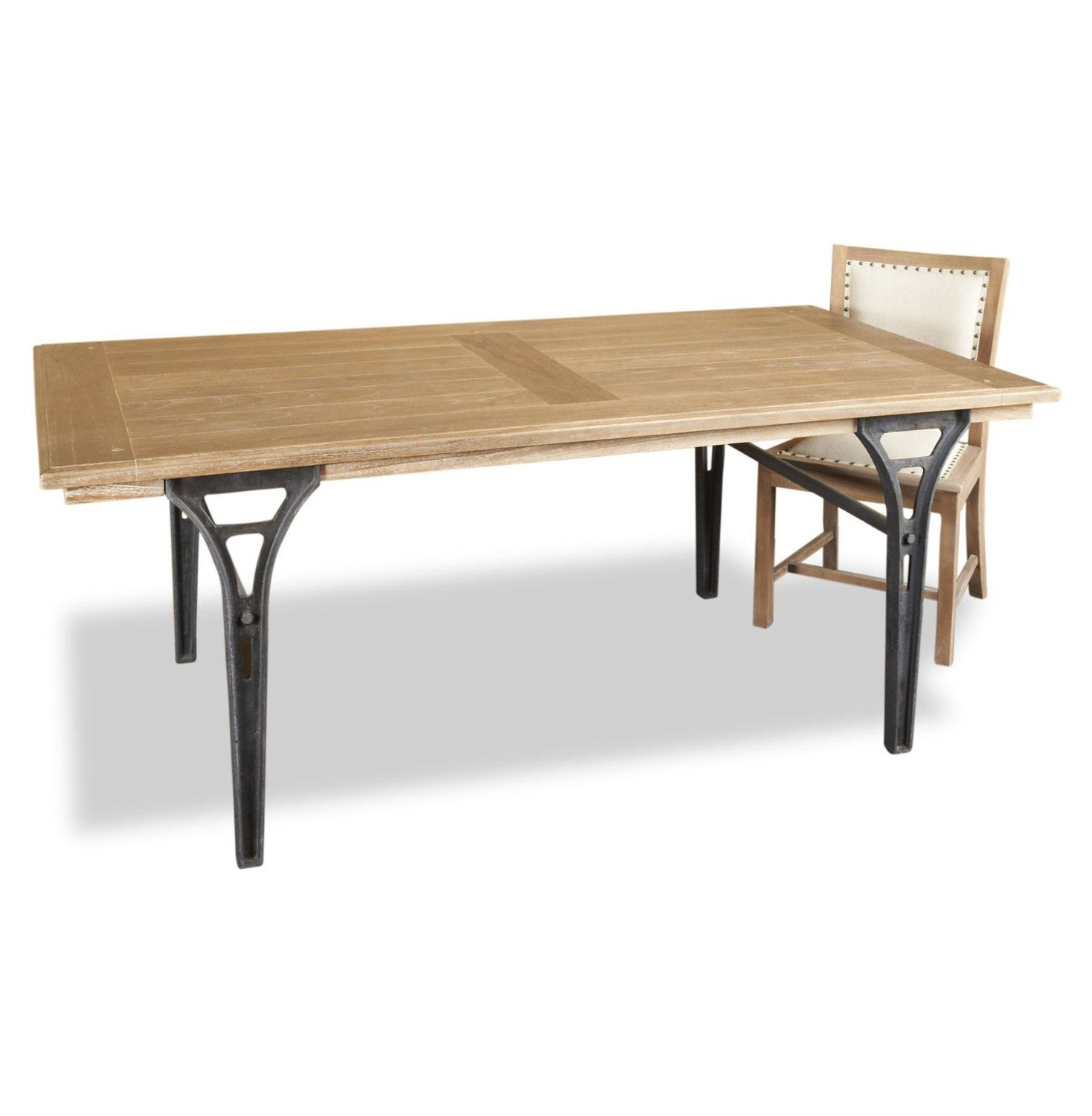 Marvelous Fashionable Expandable Dining Table Black Metal Legs Plus Brown Teak Wood  On Tops With Cool Natural