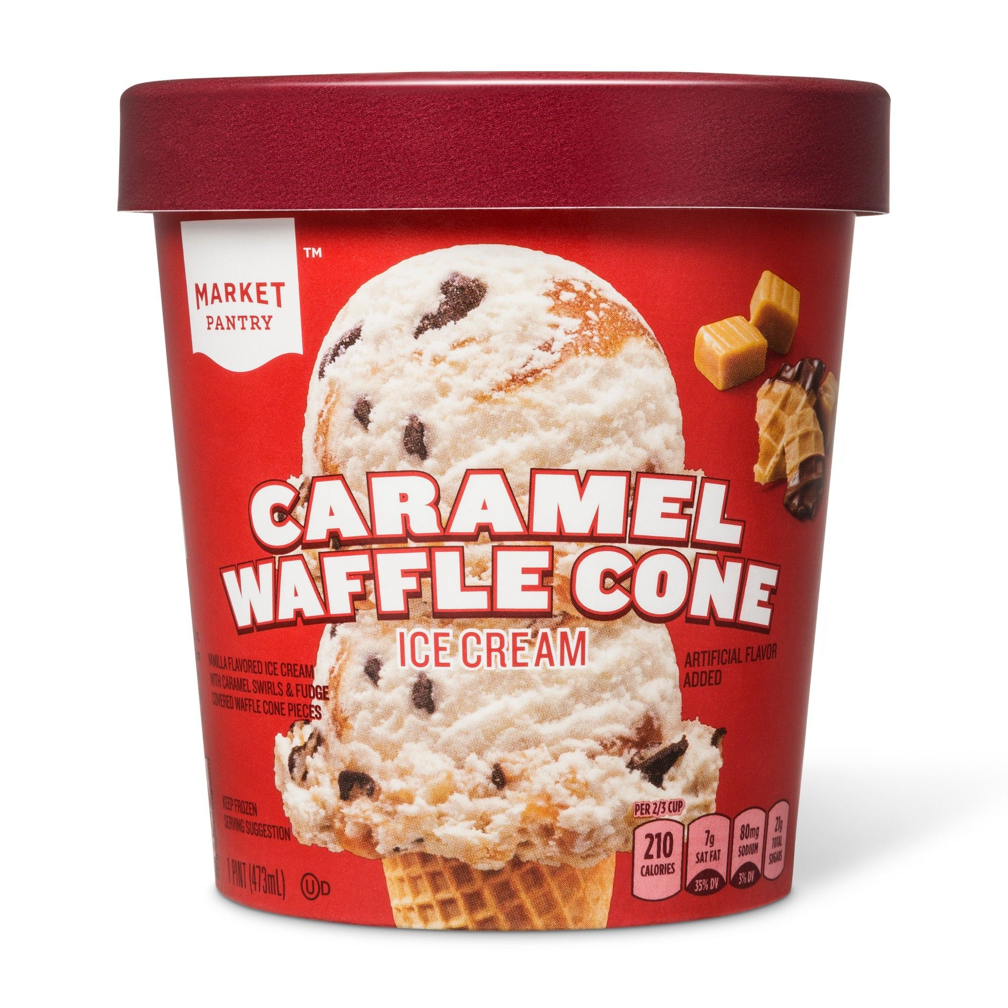 Caramel Waffle Cone Ice Cream 16oz Market Pantry Caramel