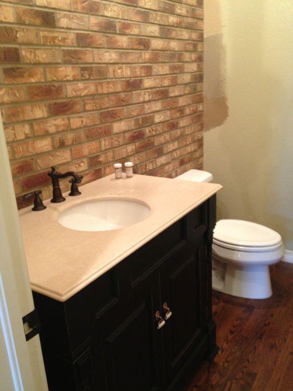 Brick Bathroom Accent Decoration With Bright Brick Wall Bathroom Bathroom Design Best Bathroom Designs Bathroom Design With Wallpaper