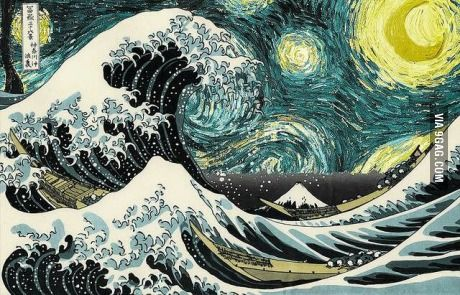 The Great Wave off A Starry Night Art, Wave illustration