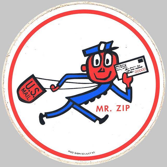 Mr Zip U S Postal Service Mascot Sticker 1965 Postal Service Vintage Briefcase Vintage Advertisements