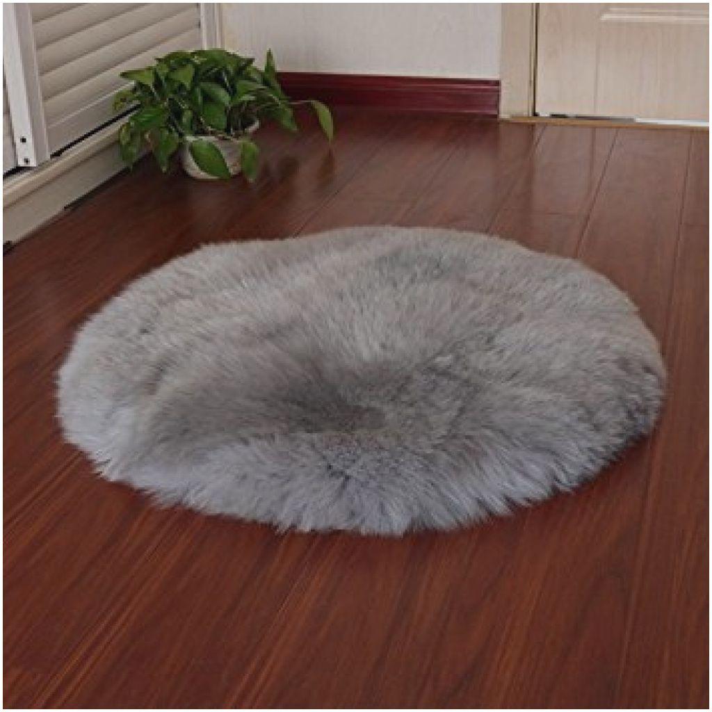 Kunstfell Teppich Silbergrau Fellform Schaffell Imitat Wohnzimmer Schlafzimmer