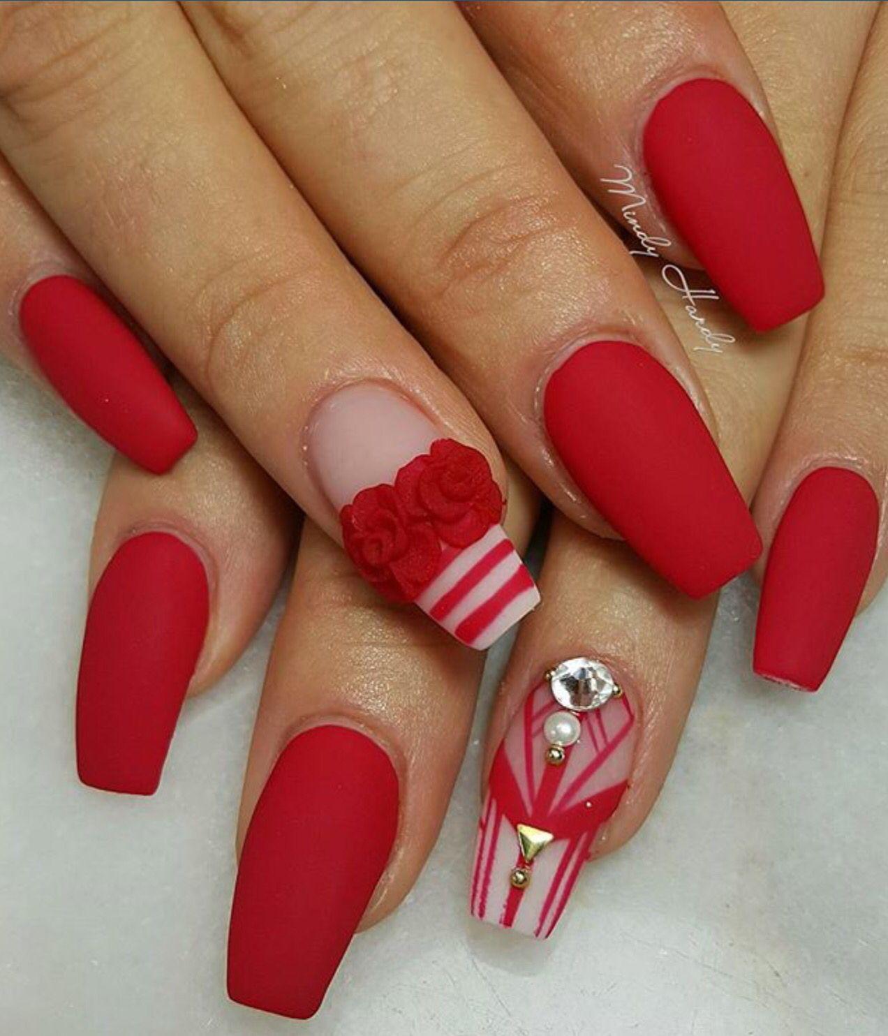 Rosa carmín mate. 3D acrílic nails   Nails   Pinterest   Uña ...