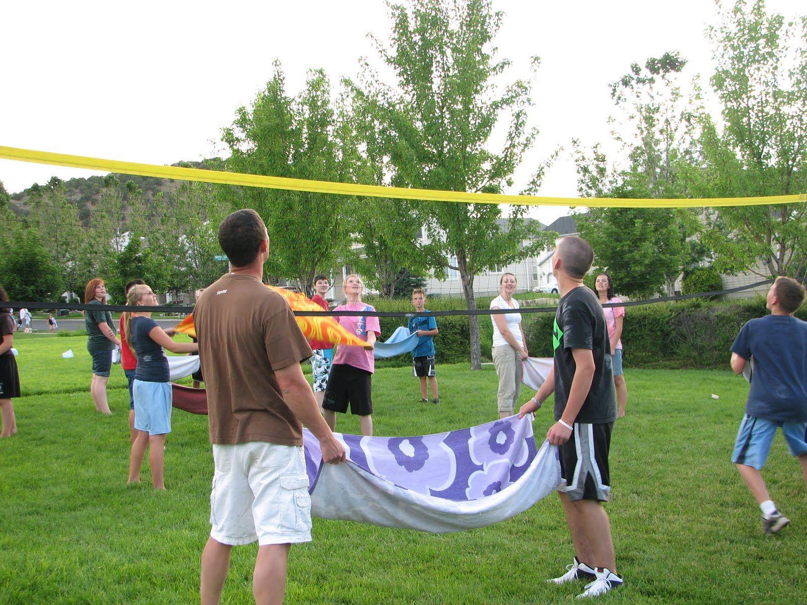 Backyard Water Balloon Volleyball Fun Summer Game Games For Teens Backyard Camping Parties Backyard Campout Party