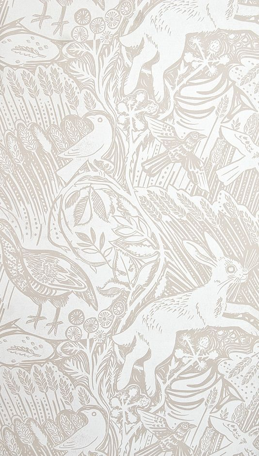 Harvest hare wallpaper excellent lino print wallpaper with mark hearld rabbit and bird design in white