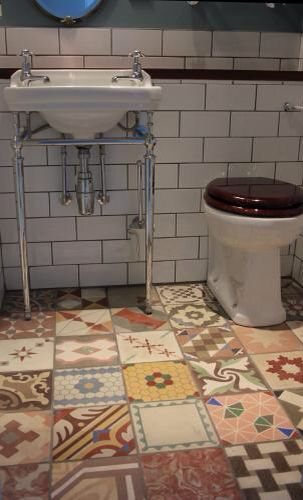 Reclaimed Miss Match Tile Edwardian Bathroom Hydraulic Tiles Antique Tiles