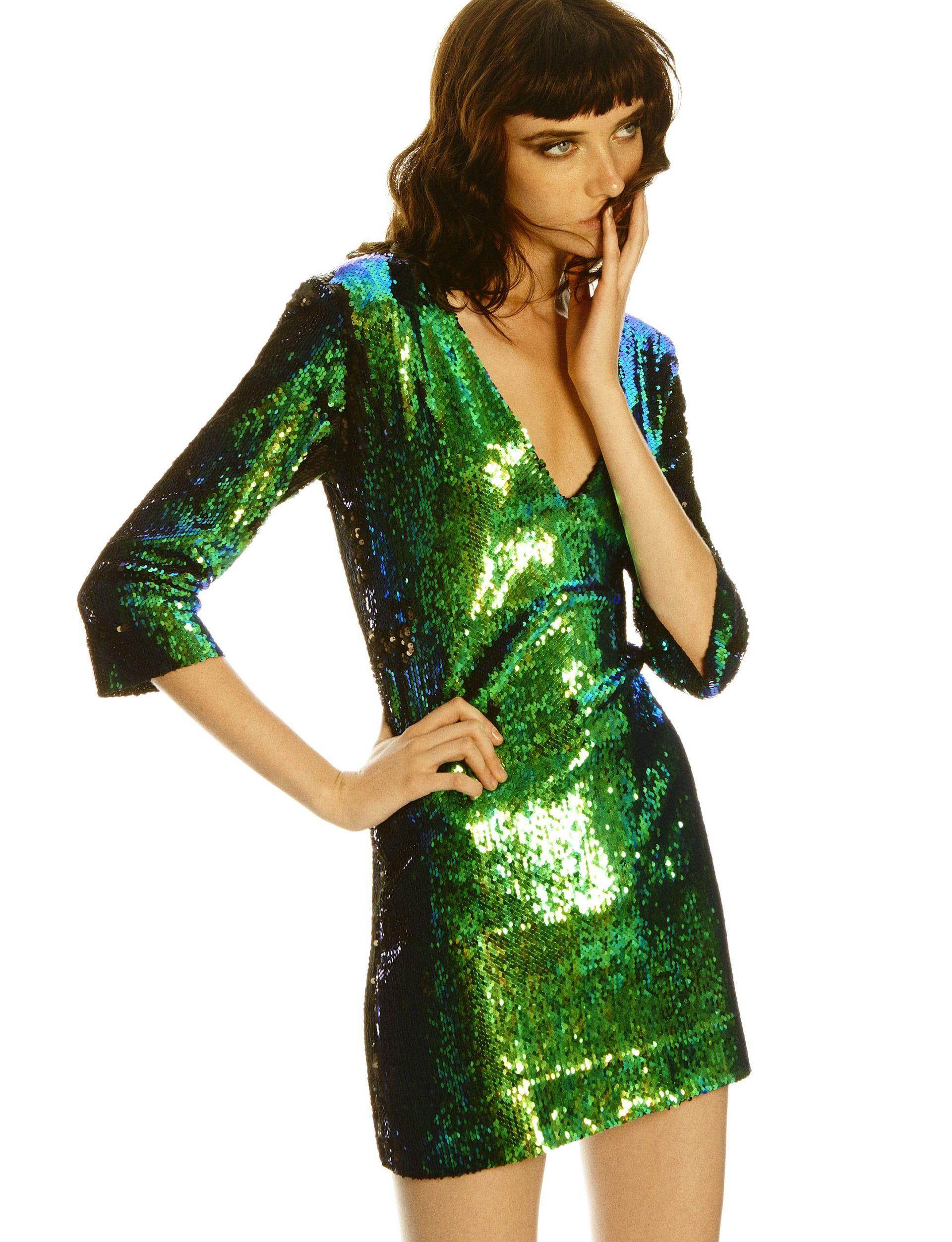 Vestido verde de lentejuelas de zara