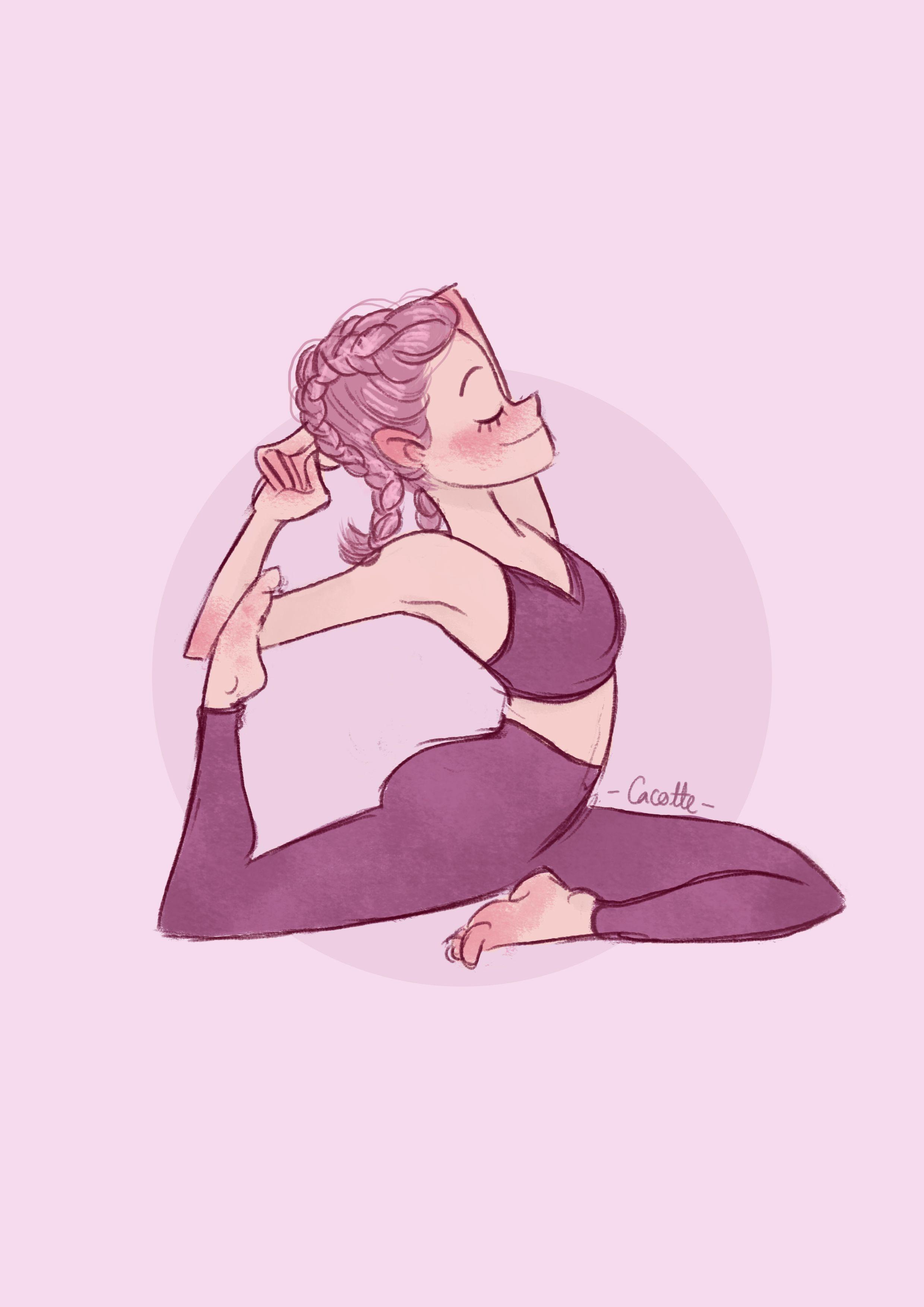 Yoga Mermaid By Cacotte Yoga Drawing Yoga Illustration Yoga Cartoon