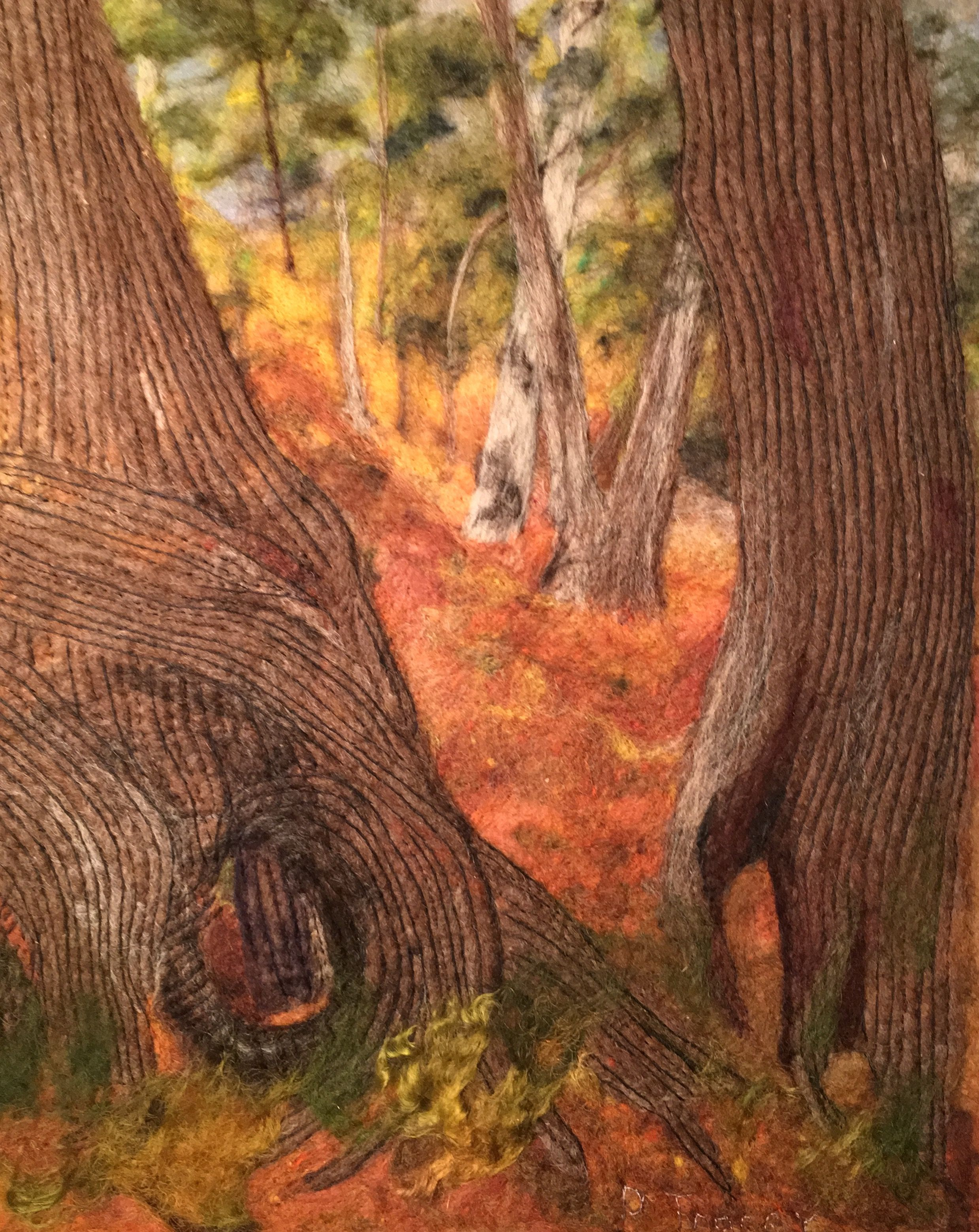 Needle felted landscape picture of Cedar trees in Jay Cooke State Park in Minnesota