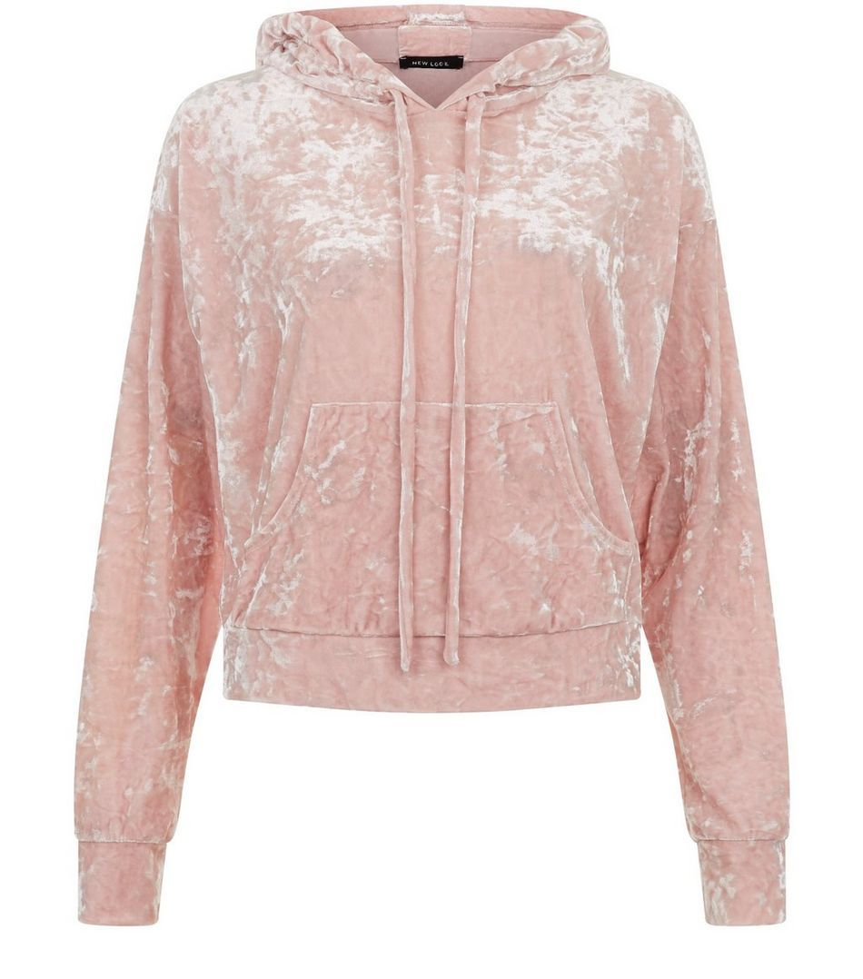 be4ee74631ea Shell Pink Velvet Cropped Hoodie   Class Outfits   Hoodies, Cropped ...