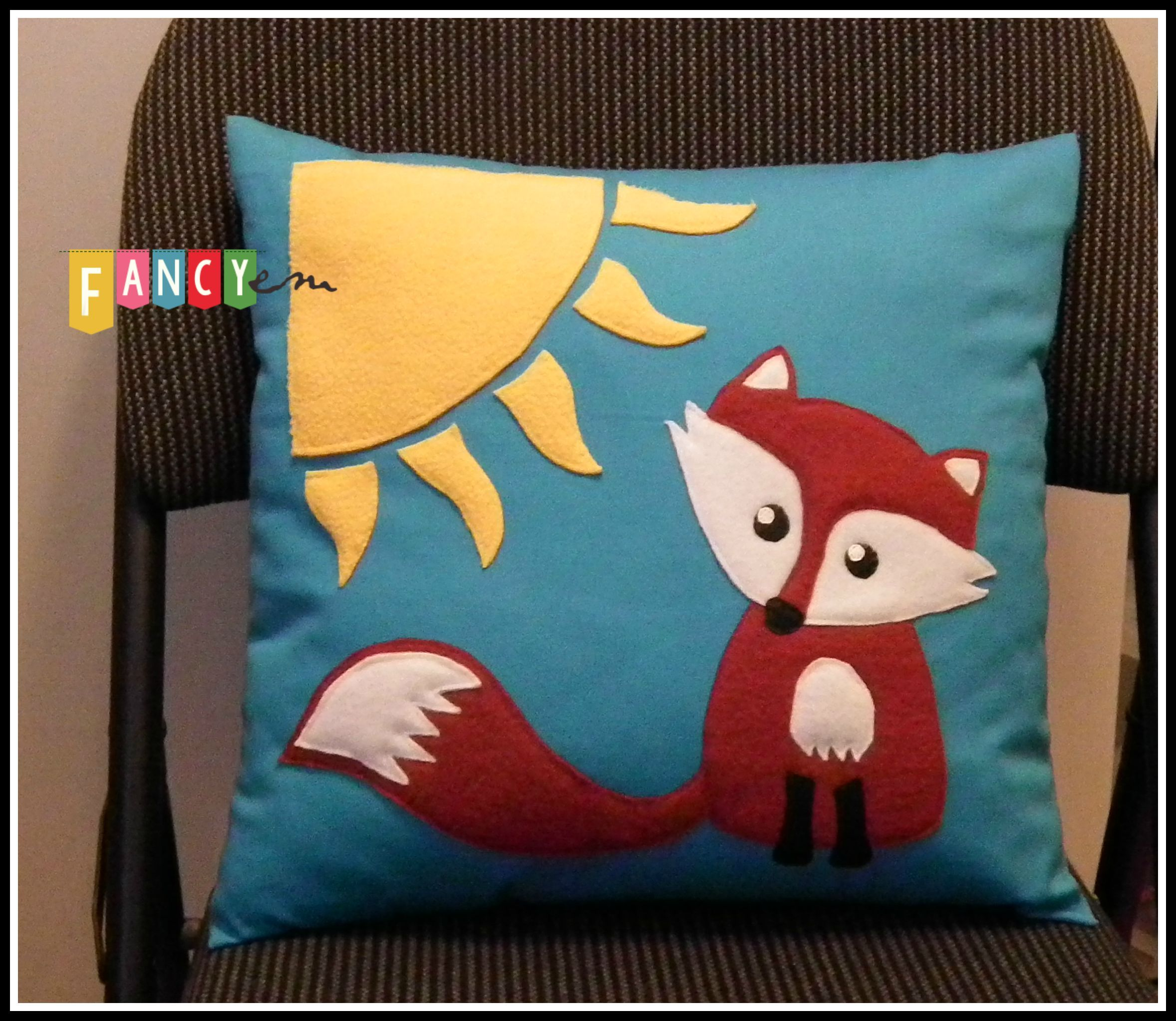 """Fox and sun"" cushion cover"