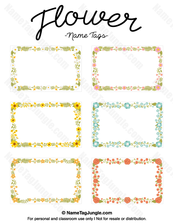 Free printable flower name tags. The flowers include roses and ...