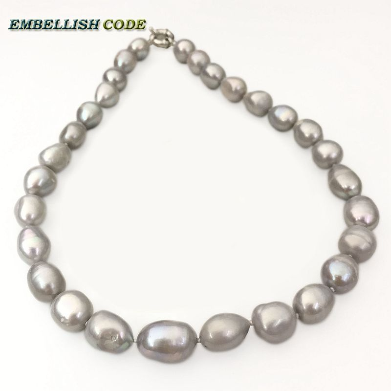 Charm Women Baroque Grey Natural Freshwater Pearl Necklace Chain Jewelry Gifts