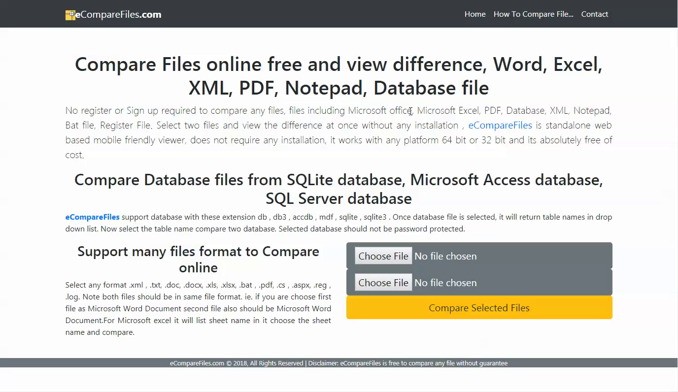 How to compare two word documents file for differences ? Select two